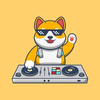 Ładny pies gra dj mikser muzyki elektronicznej ze słuchawkami wektor. muzyka zwierząt premium wektor.