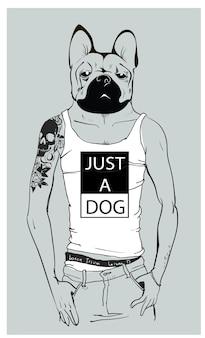 Ładny pies hipster moda z tatuażem. ilustracja wektorowa