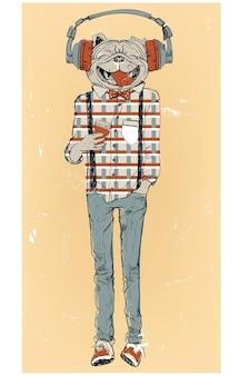 Ładny pies hipster moda ze słuchawkami. ilustracja wektorowa