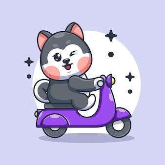 Ładny pies husky jazda konna kreskówka skuter