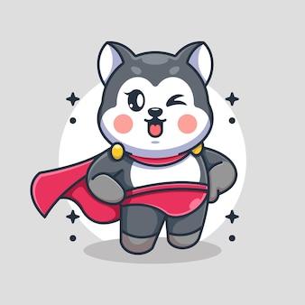 Ładny pies husky kreskówka superbohatera