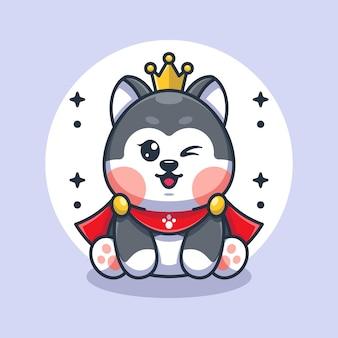Ładny pies husky króla zabawny