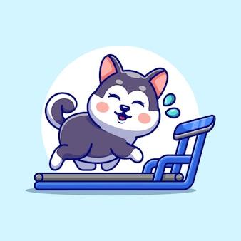 Ładny pies husky na bieżni kreskówka