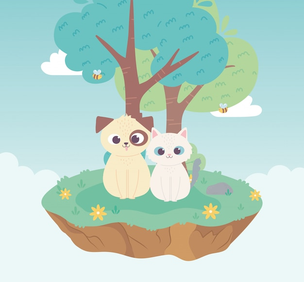 Ładny pies i kot zwierzęta domowe kreskówka stojąca łąka drzewo i kwiaty natura