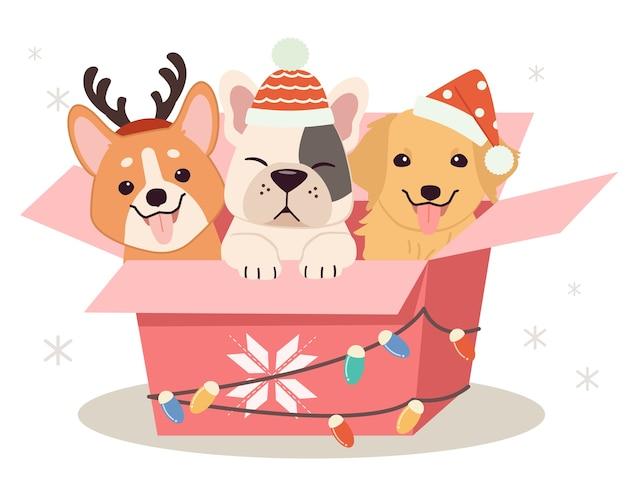 Ładny pies i przyjaciele siedzą w pudełku prezentowym