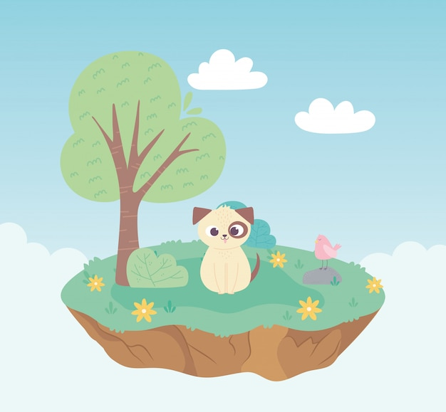 Ładny pies i ptak zwierzęta kreskówka stojąca łąka drzewo i kwiaty natura