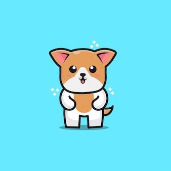 Ładny Pies Ikona Ilustracja Kreskówka Premium Wektorów