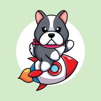 Ładny pies jazda rakieta kreskówka