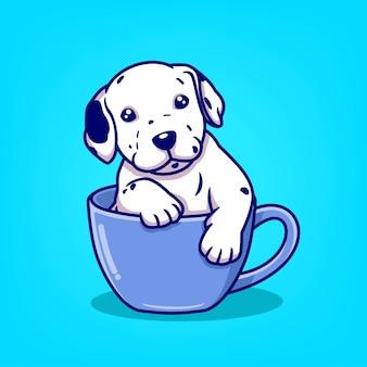 Ładny pies kreskówka n kubek ilustracji wektorowych