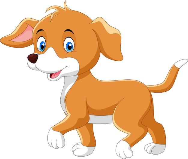 Ładny pies kreskówka na białym tle