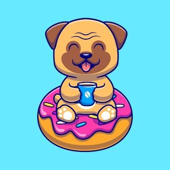 Ładny pies mops z kawy i pączka kreskówka wektor ikona ilustracja. koncepcja ikona żywności zwierząt na białym tle premium wektor. płaski styl kreskówki