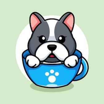 Ładny pies na filiżankę kawy kreskówka