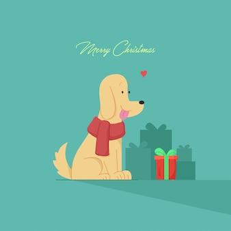Ładny pies patrząc na świąteczny prezent. świąteczna ilustracja