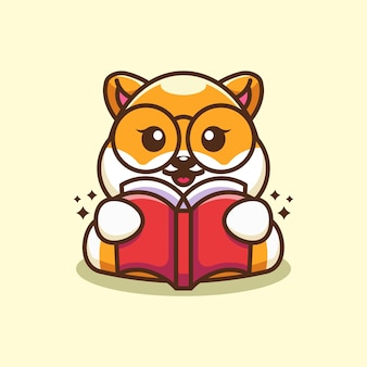 Ładny pies shiba inu czytanie książki kreskówka