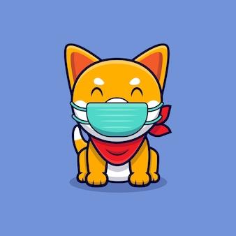 Ładny pies shiba inu noszenie maski kreskówka ikona ilustracja