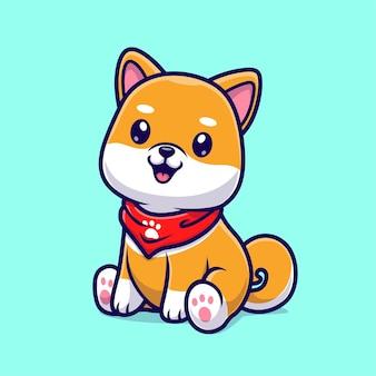 Ładny pies shiba inu siedzący kreskówka wektor ikona ilustracja. zwierzęca natura ikona koncepcja białym tle premium wektor. płaski styl kreskówki