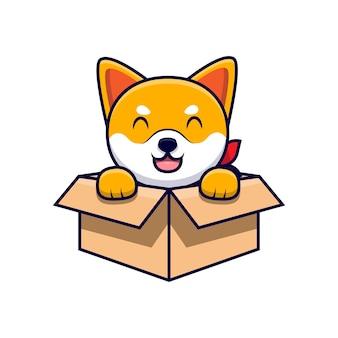 Ładny pies shiba inu siedzący wewnątrz pola kreskówka ikona ilustracja