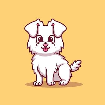 Ładny pies siedzi ilustracja kreskówka wektor. koncepcja miłości zwierząt na białym tle wektor. płaski styl kreskówki