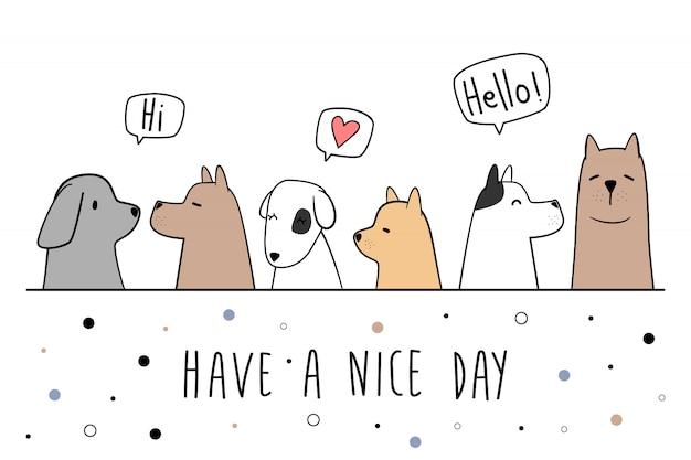 Ładny pies szczeniak pozdrowienie kreskówka doodle karty