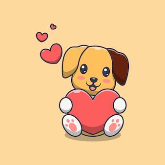 Ładny pies trzyma ilustracja kreskówka miłość