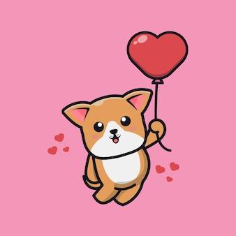 Ładny pies trzyma miłość balon ikona ilustracja kreskówka