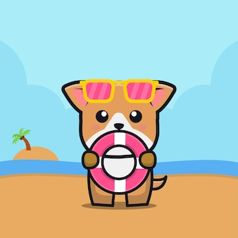 Ładny pies trzymać pierścień do pływania ilustracja kreskówka koncepcja lato zwierząt