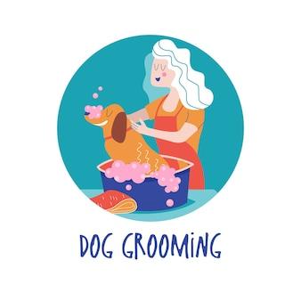 Ładny pies w salonie groomer. kobieta myje psa. koncepcja pielęgnacji psa. ręcznie rysowane ilustracji wektorowych. ilustracja wektorowa dla salonu fryzjerskiego, sklepu do stylizacji i pielęgnacji, sklepu zoologicznego dla psów i kotów