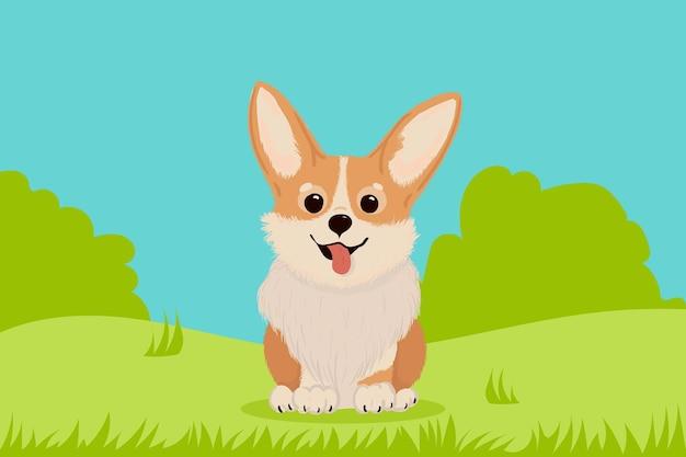 Ładny pies welsh corgi, na zielonej trawie, ilustracja dla dzieci