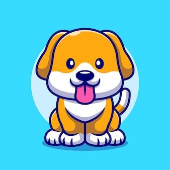 Ładny pies wystaje jej język kreskówka ikona ilustracja.