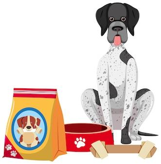 Ładny pies z karmą dla psów i kością zabawka na białym tle