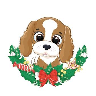 Ładny pies z wieńcem bożonarodzeniowym.