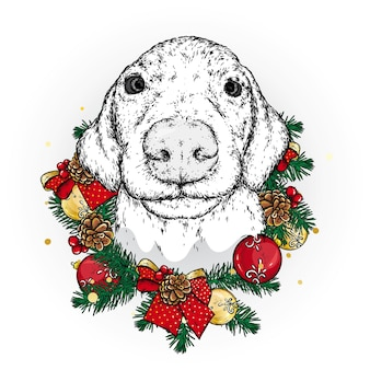 Ładny pies z wieńcem świątecznym. wektor.