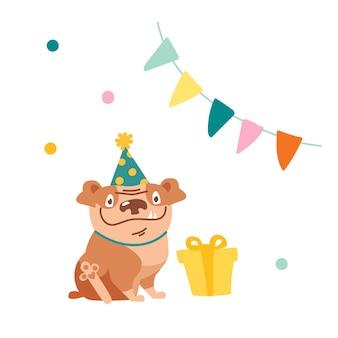 Ładny pies znaków świętuj urodziny. zabawny buldog w świątecznym kapeluszu siedzący przed zapakowanym prezentem w pokoju ozdobionym girlandą z flagą i konfetti, pudełeczko dla zwierzaka. ilustracja kreskówka wektor
