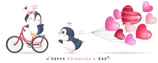 Ładny pingwin doodle do kolekcji walentynki