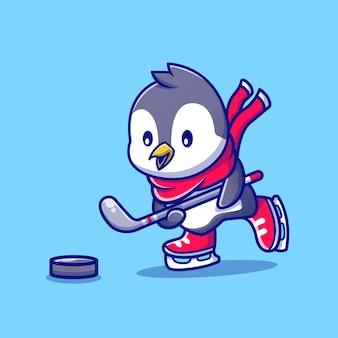 Ładny pingwin gra w hokeja postać z kreskówki. sport zwierząt na białym tle.