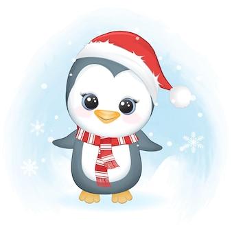 Ładny pingwin i śnieżynka w zimie, boże narodzenie ilustracja.