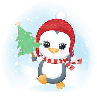Ładny pingwin i sosna boże narodzenie, boże narodzenie ilustracja akwarela.