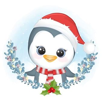 Ładny pingwin i wieniec boże narodzenie, boże narodzenie ilustracja akwarela.