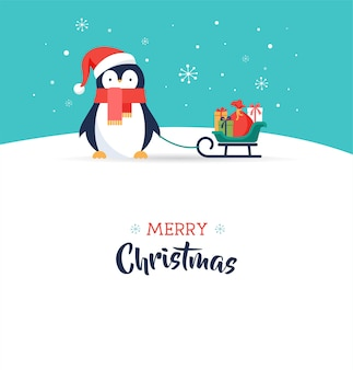 Ładny pingwin - kartkę z życzeniami wesołych świąt