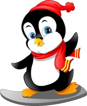 Ładny pingwin kreskówka na nartach