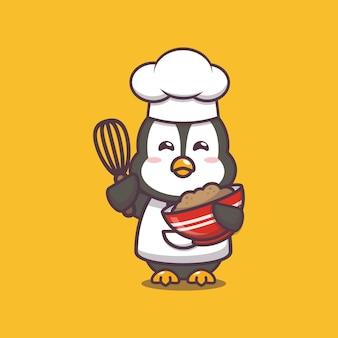 Ładny pingwin kucharz ilustracja postać