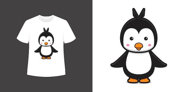 Ładny pingwin maskotka charakter t shirt styl i modne ubrania projektowania druku, ilustracji wektorowych.