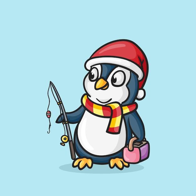 Ładny Pingwin Połowów Kreskówka Wektor Ikona Ilustracja Premium Wektorów