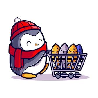 Ładny pingwin ryb na zakupy z kreskówki wózka