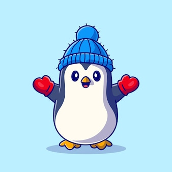 Ładny pingwin w rękawiczce i kapeluszu ikona ilustracja kreskówka. koncepcja ikona zwierząt zima na białym tle. płaski styl kreskówki