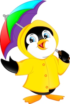 Ładny pingwina gospodarstwa parasol
