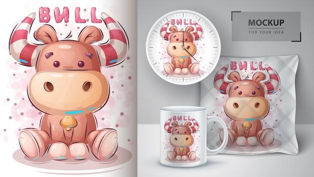 Ładny plakat pluszowego byka i merchandising