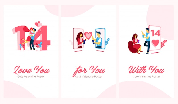 Ładny plakat valentine płaski ilustracja
