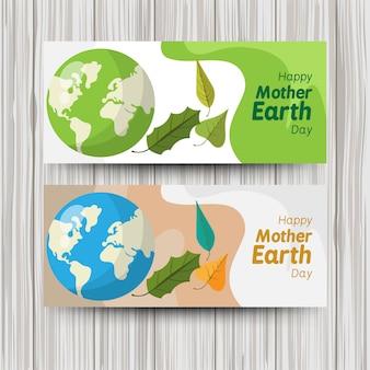 Ładny płaski banery na dzień ziemi świata