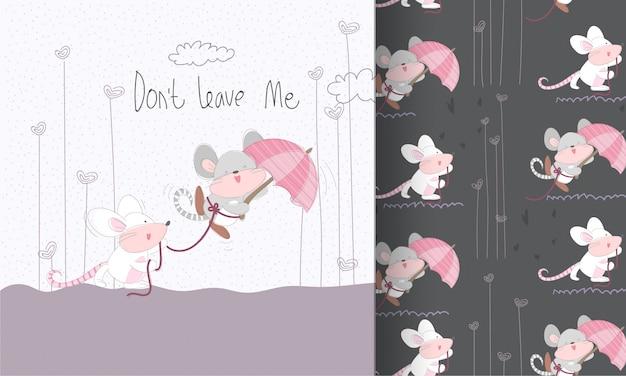 Ładny płaski kreskówka para myszy wzór